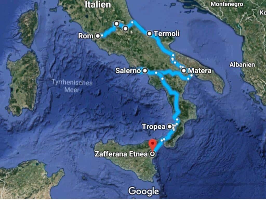 route unserer weinreise süditalien von rom bis sizilien