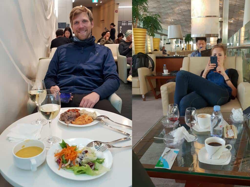 flughafen lounge jost beim essen und relaxen