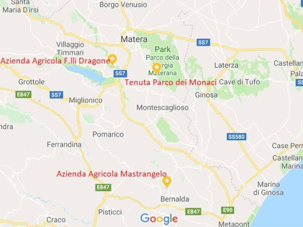 weingueter empfehlung matera basilikata süditalien karte