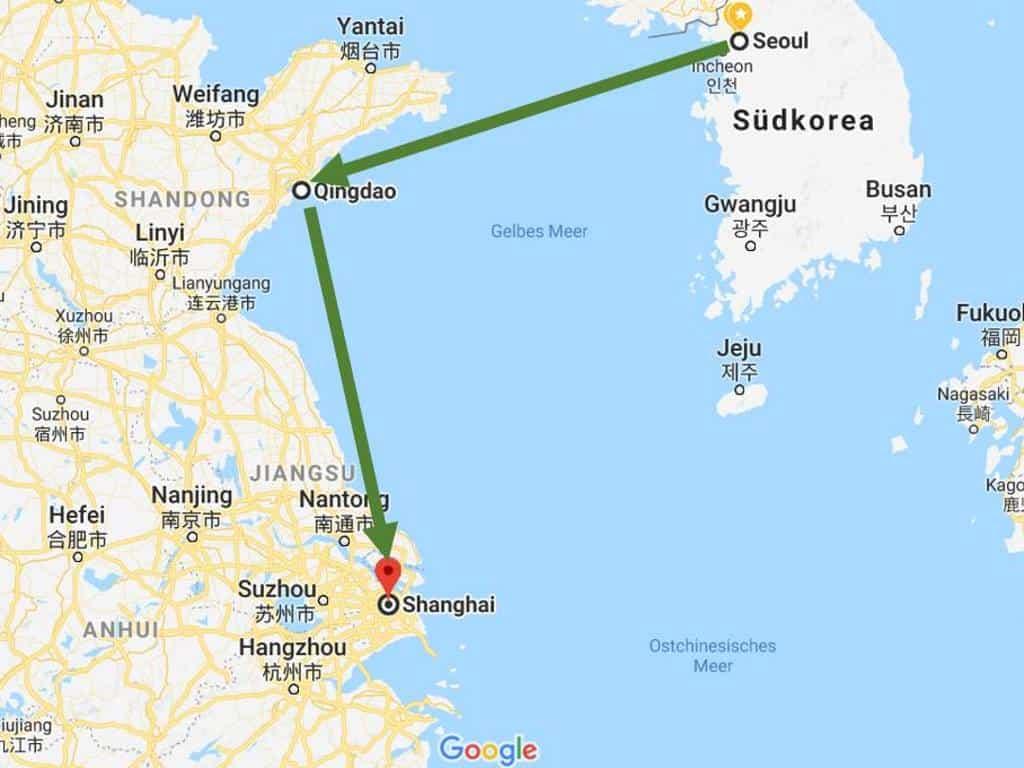 geplante flugroute von seoul nach shanghai ueber qingdao