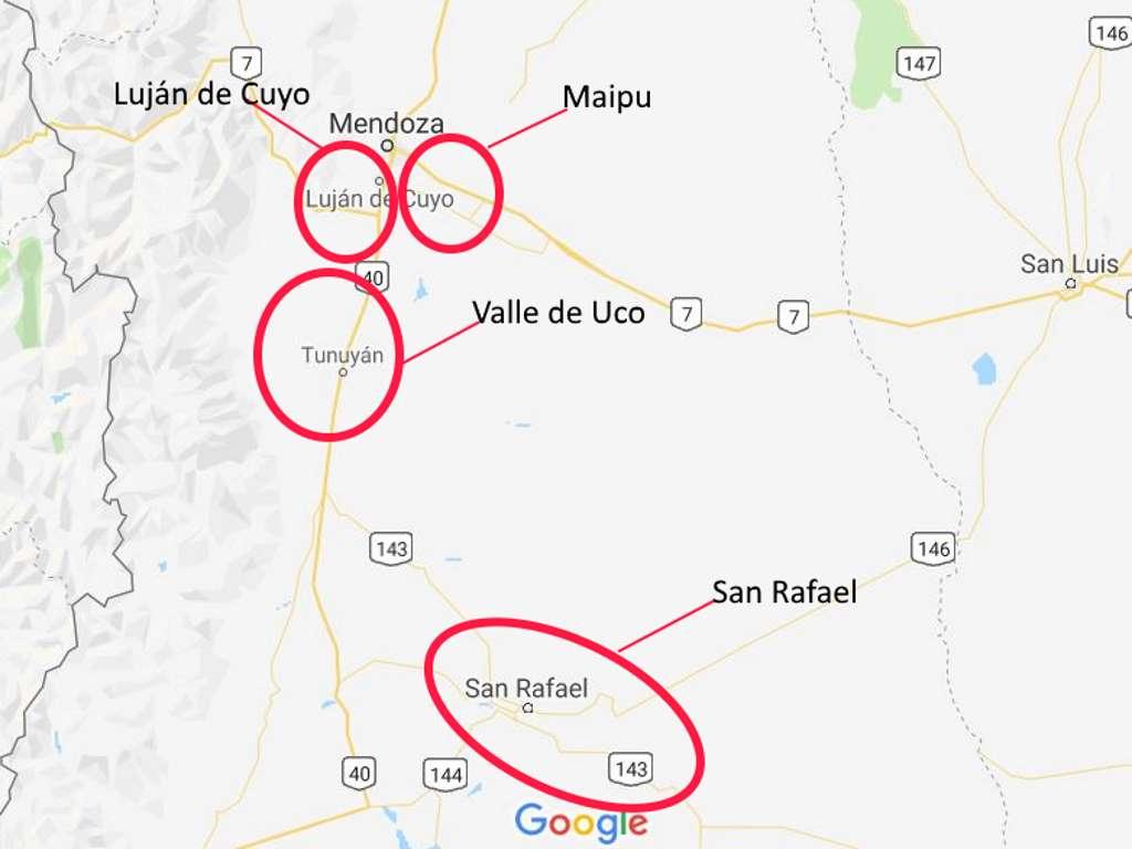 karte mit den vier wichtigen weinregionen in mendoza